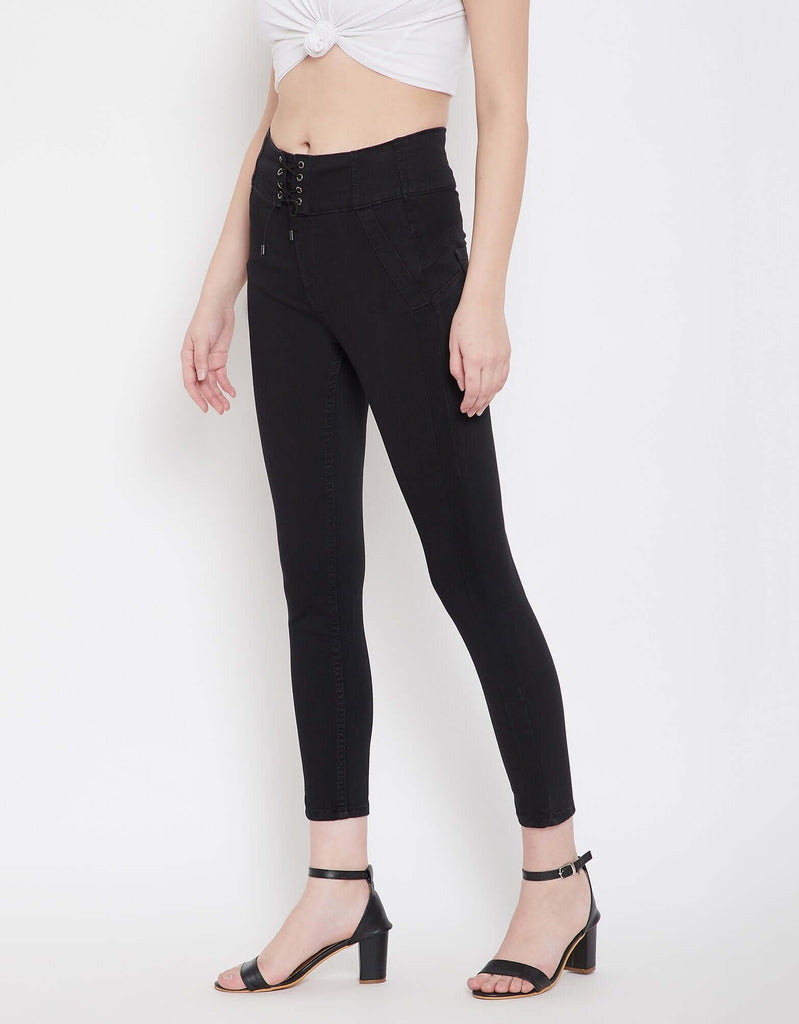 Black Color Denim Jeans For Women
