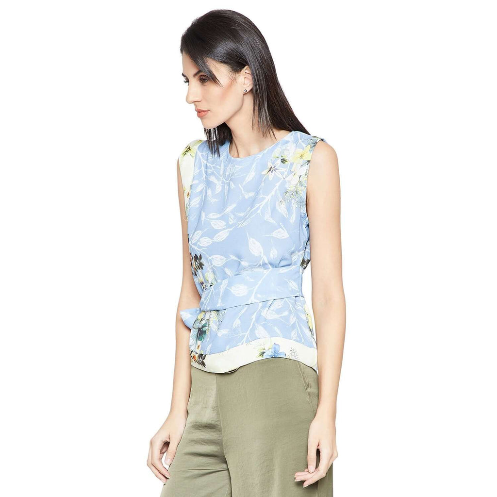 Madame Blue Casual Printed Top