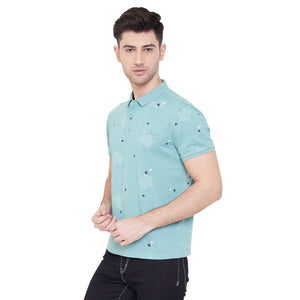 Camla Men Green Printed TShirt
