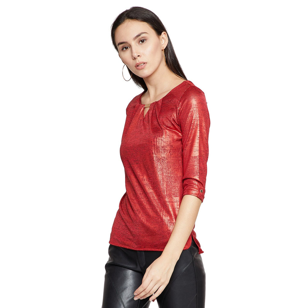 Madame Women Red Textured Top