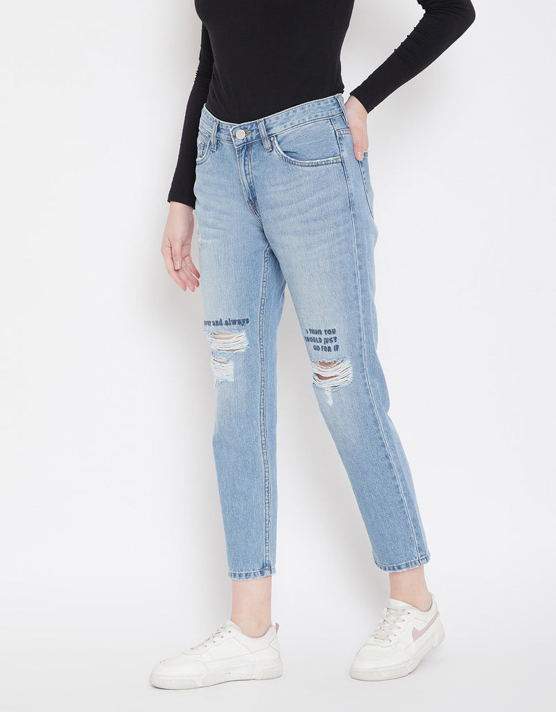 Ice Blue Color Denim Jeans For Women