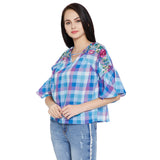 Madame Solid Checked Top