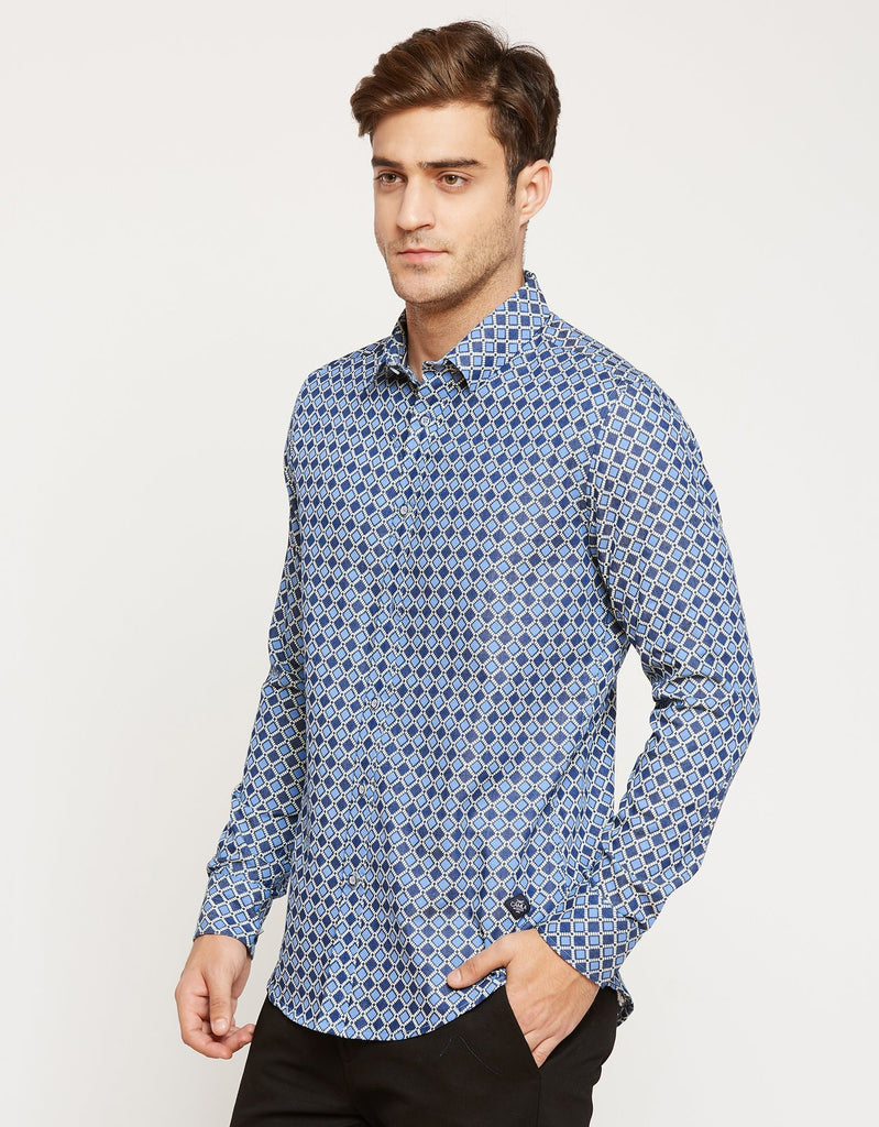 CAMLA Men Blue Slim Fit Printed Casual Shirt