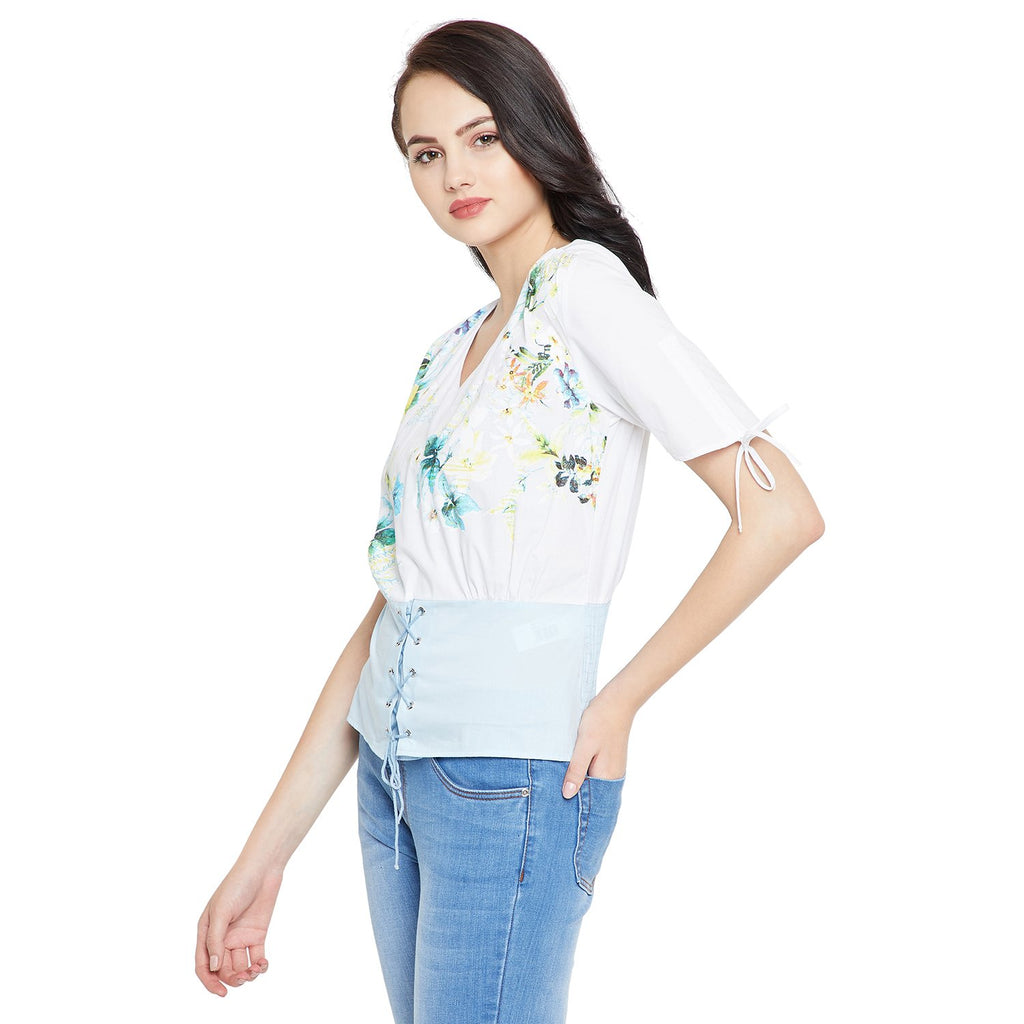 White Casual Floral Top