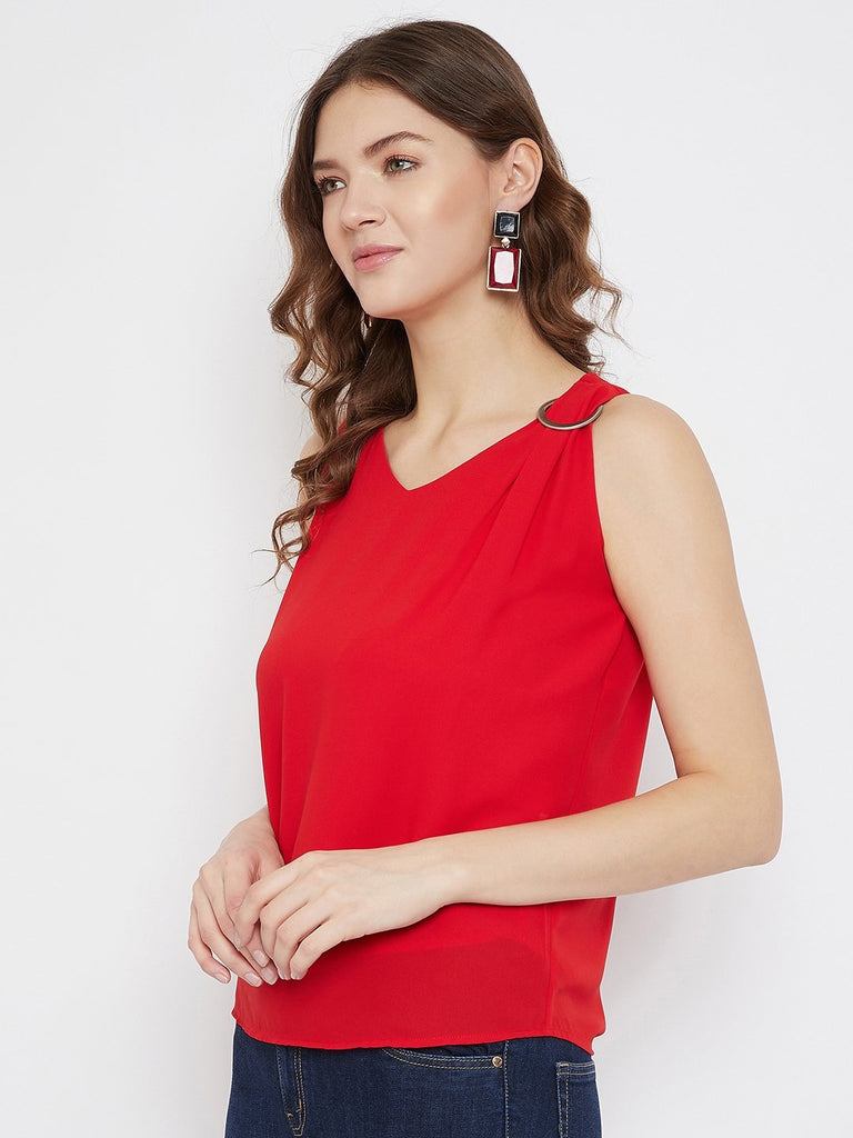 MADAME RED Color  Top For Womens