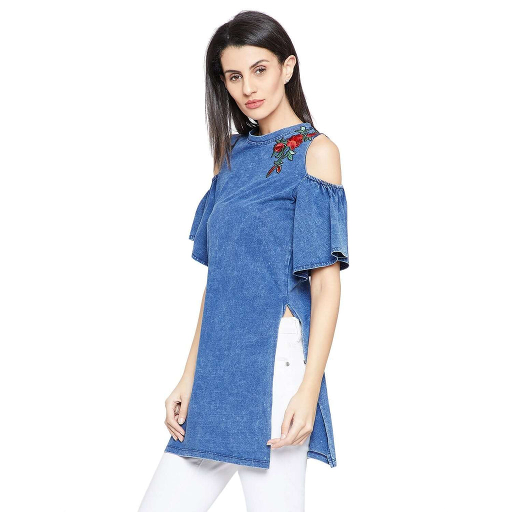 Blue Cold-Shoulder Casual Top