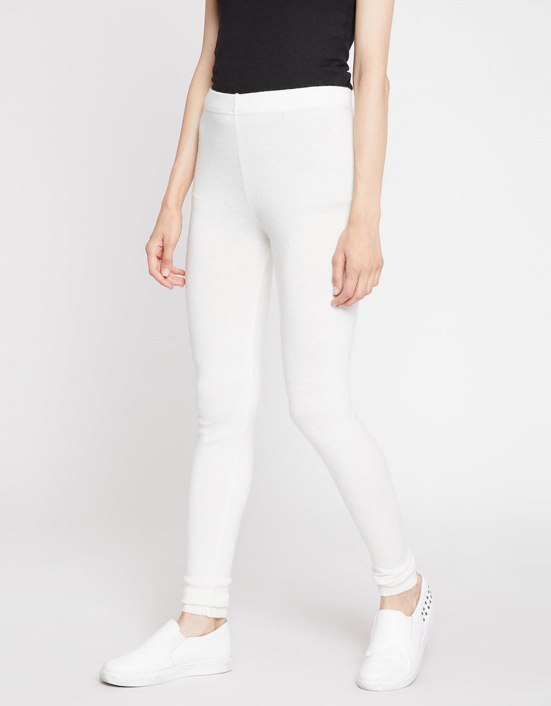 MADAME OFF WHITE Color Tights For Womens
