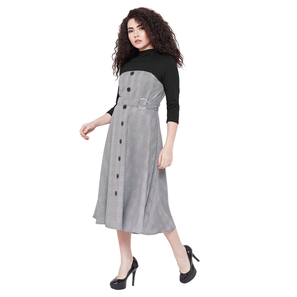 Madame  Solid Midi Long Casual Dress