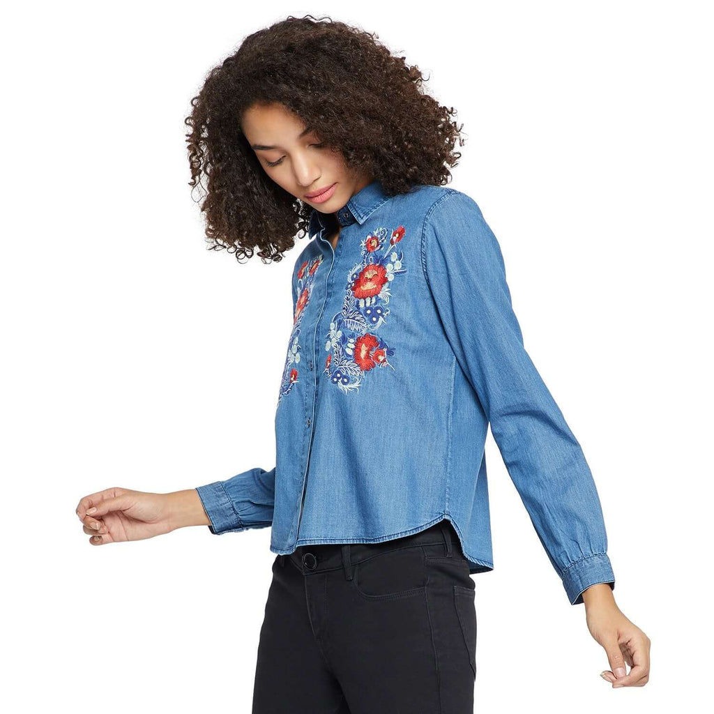 Blue Embroidered Shirt