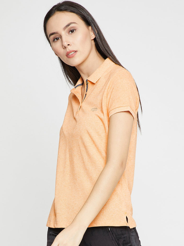 Madame Women Yellow Solid Polo Collar T-shirt