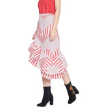 Madame Asymmetrical Hemline Red Skirt