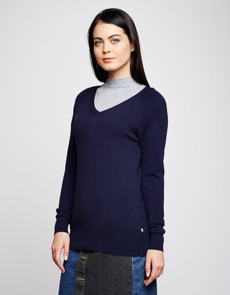 MADAME NAVY Color Sweater For Womens