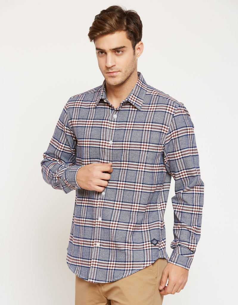 CAMLA Men Navy Blue & White Regular Fit Checked Casual Shirt-2XL-Navy Blue