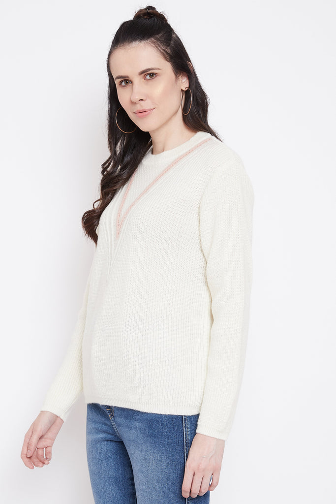 Madame Off White Color Sweater For Women