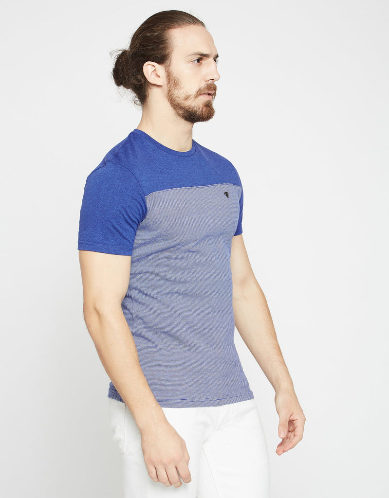 Blue Striped Regular Fit Round Neck T-Shirt