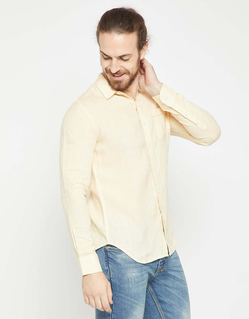 Beige Slim Fit Casual Shirt