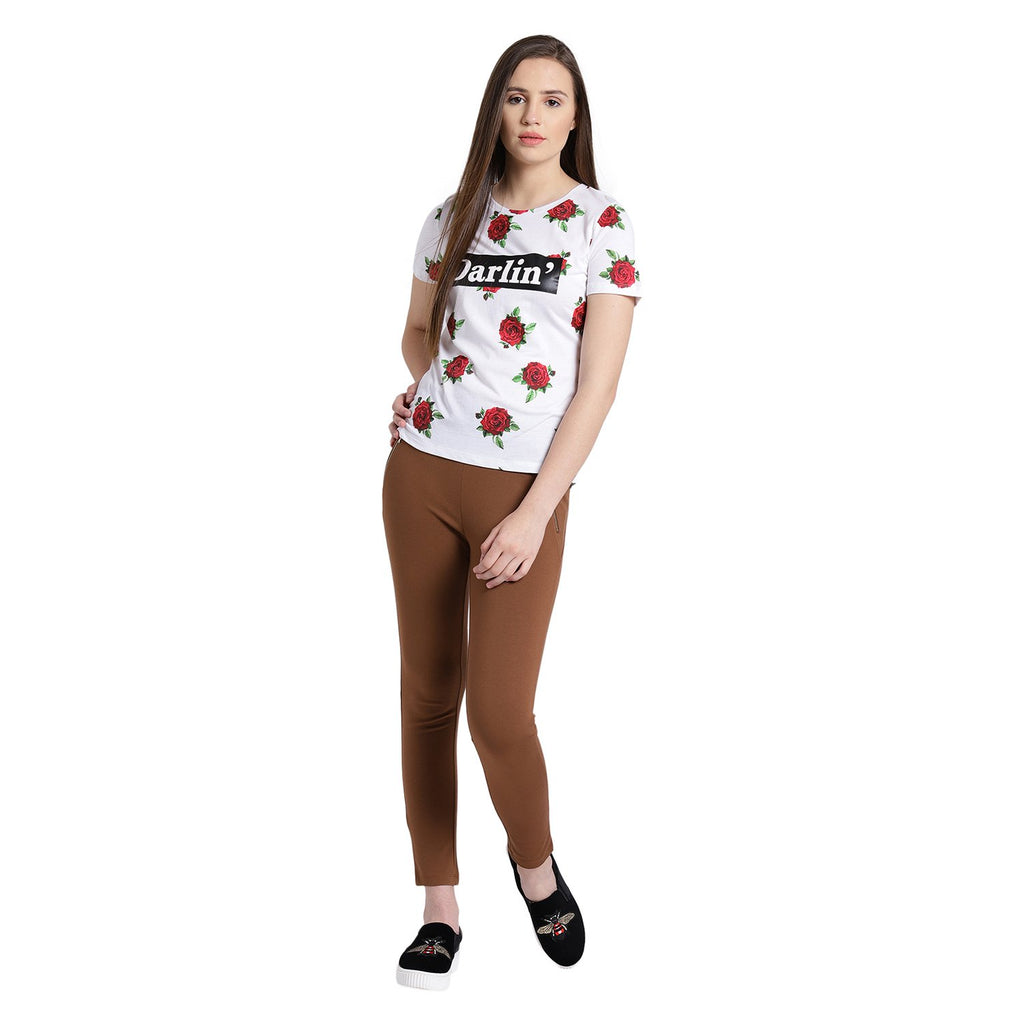 Madame White Floral Casual Top