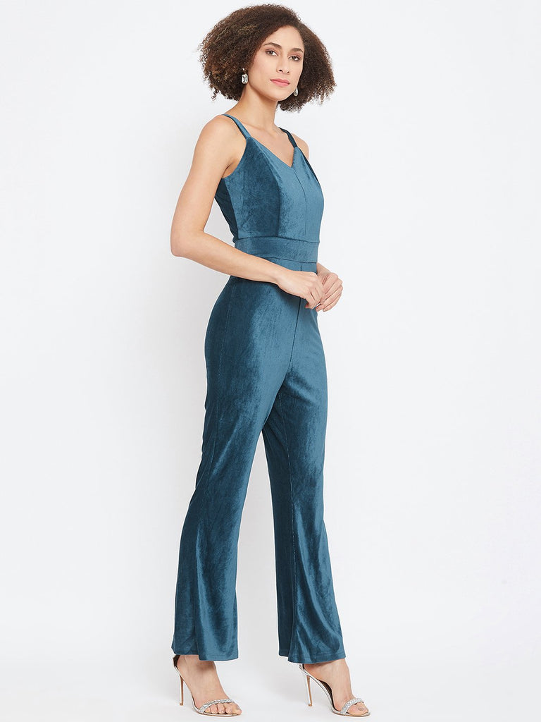 Madame Teal Color Jumpsuit For Women