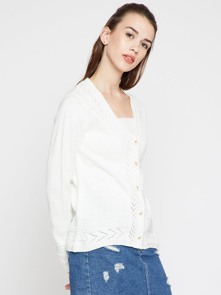 Madame Women Off-White Solid Cardigan