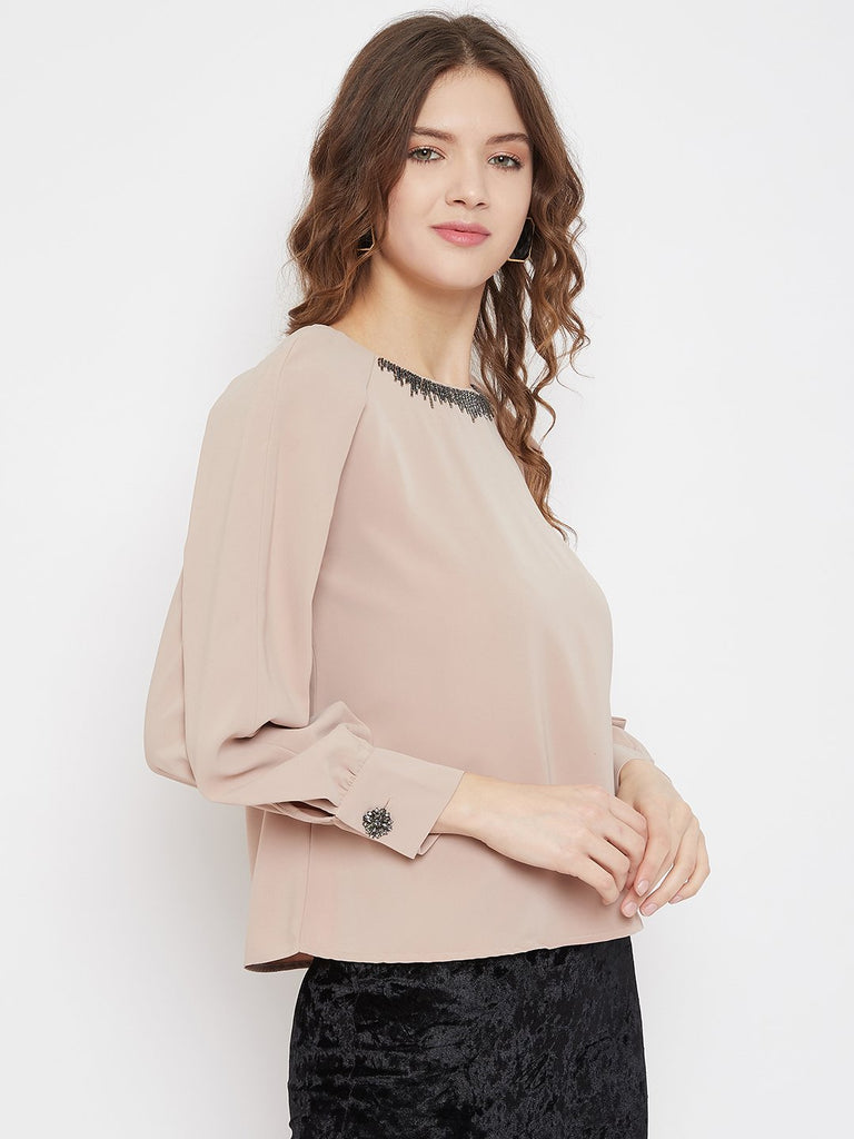 Madame Beige Color Top For Women