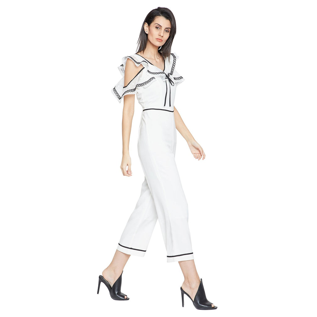 White Casual Solid Jumpsuit