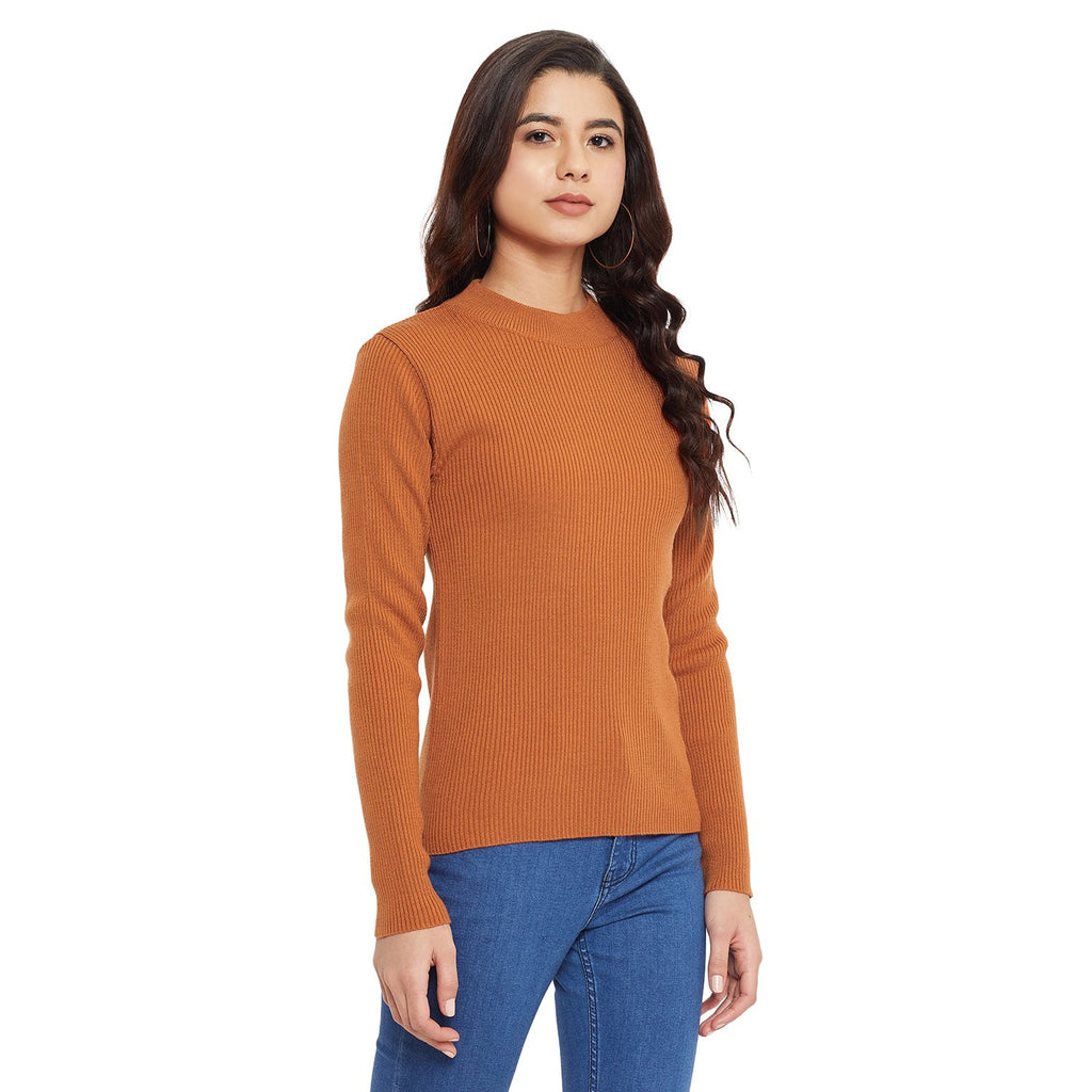 Madame Orange Color Sweater For Women