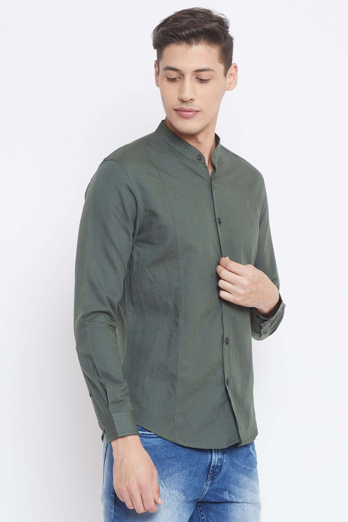 Camla Bottle Green Color Shirts For Mens
