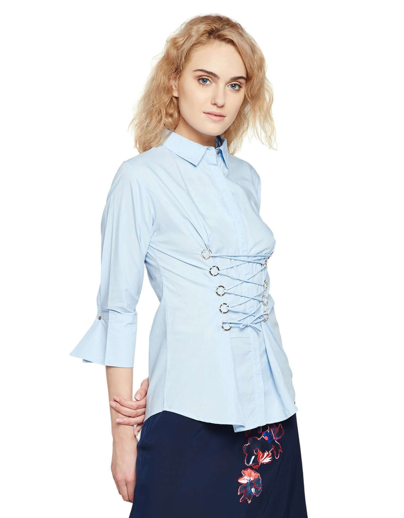 Blue Casual Solid Shirt
