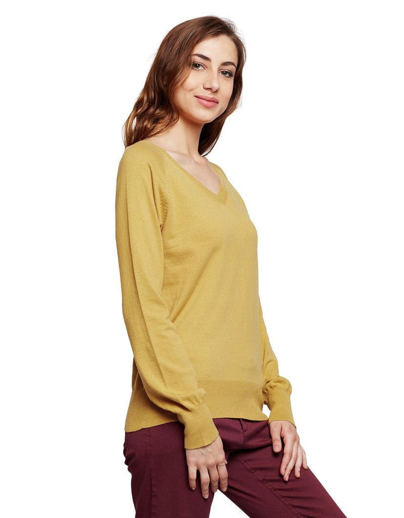 MADAME MUSTARD Color Sweater For Womens