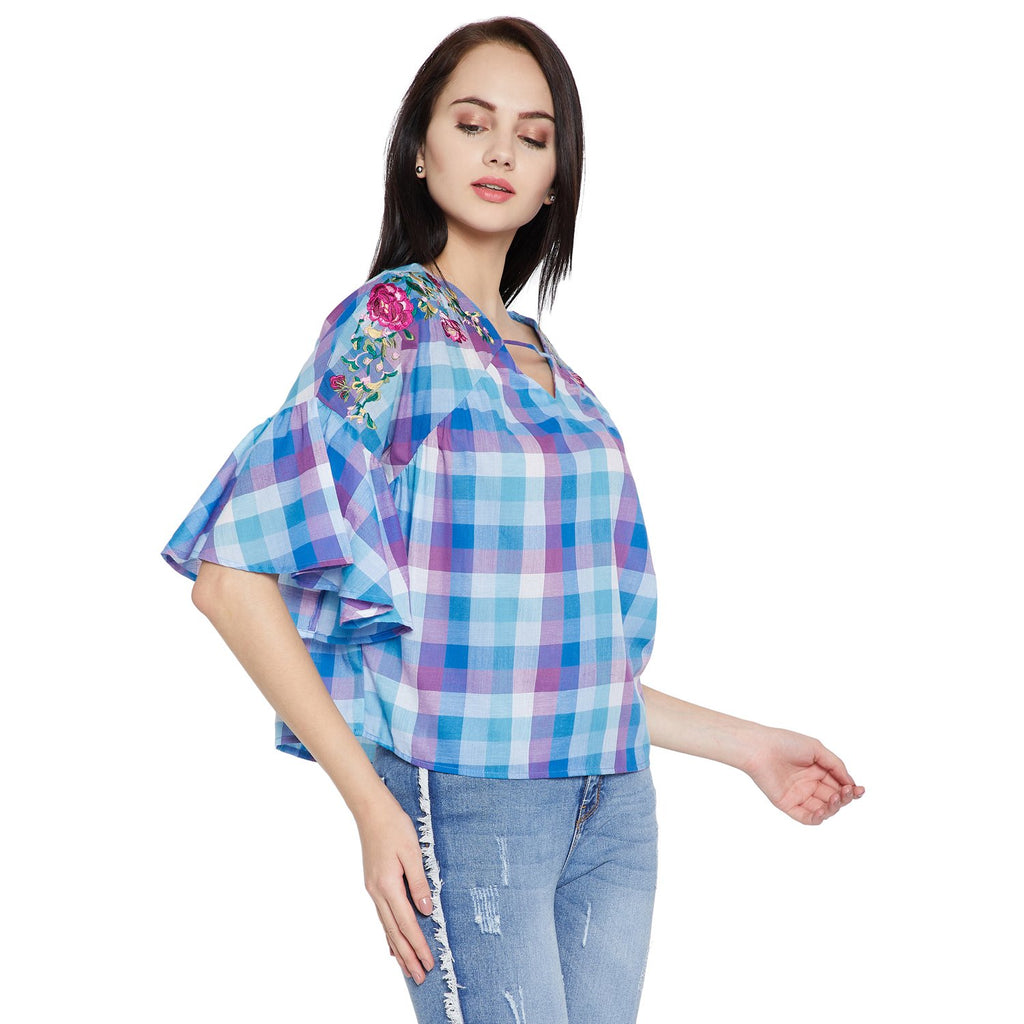 Women's Solid Checked Top
