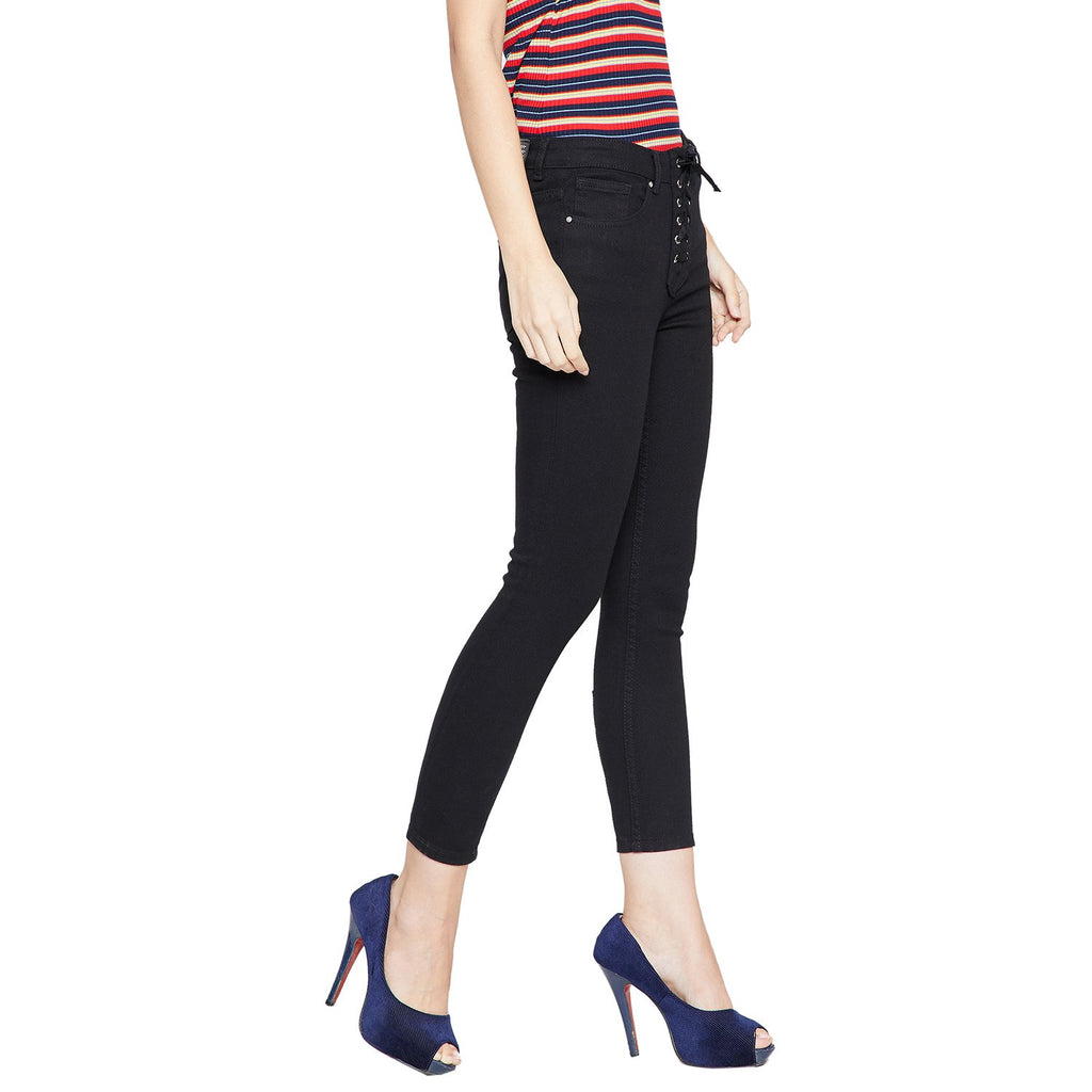 Madame Black Solid Skinny Fit Jeans