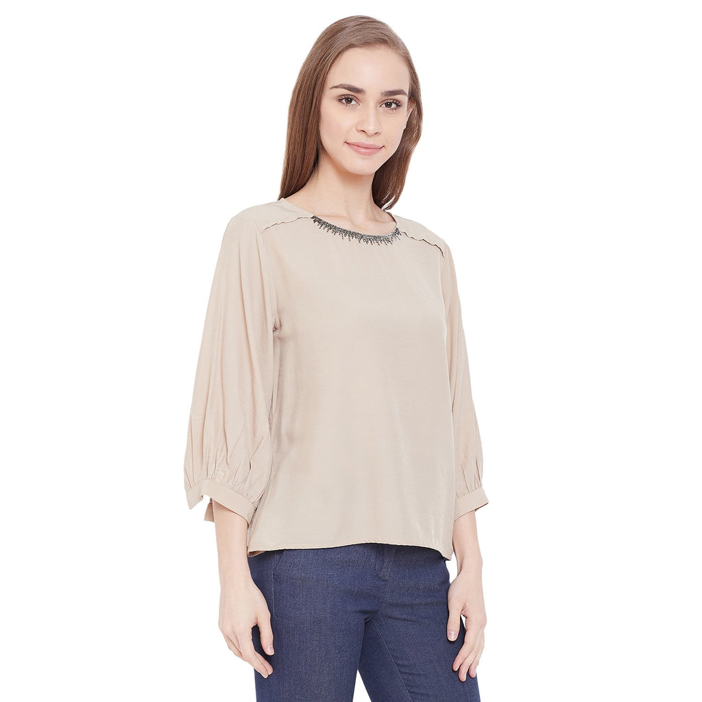 Madame Women Beige Top