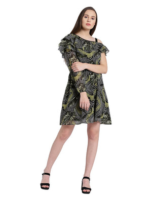 Green Printed One Shoulder Fit & Flare Dress