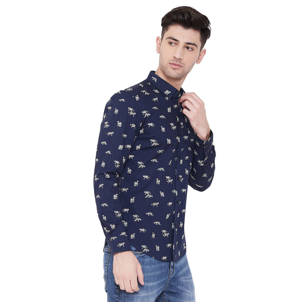 Camla Men Navy Printed Shirt