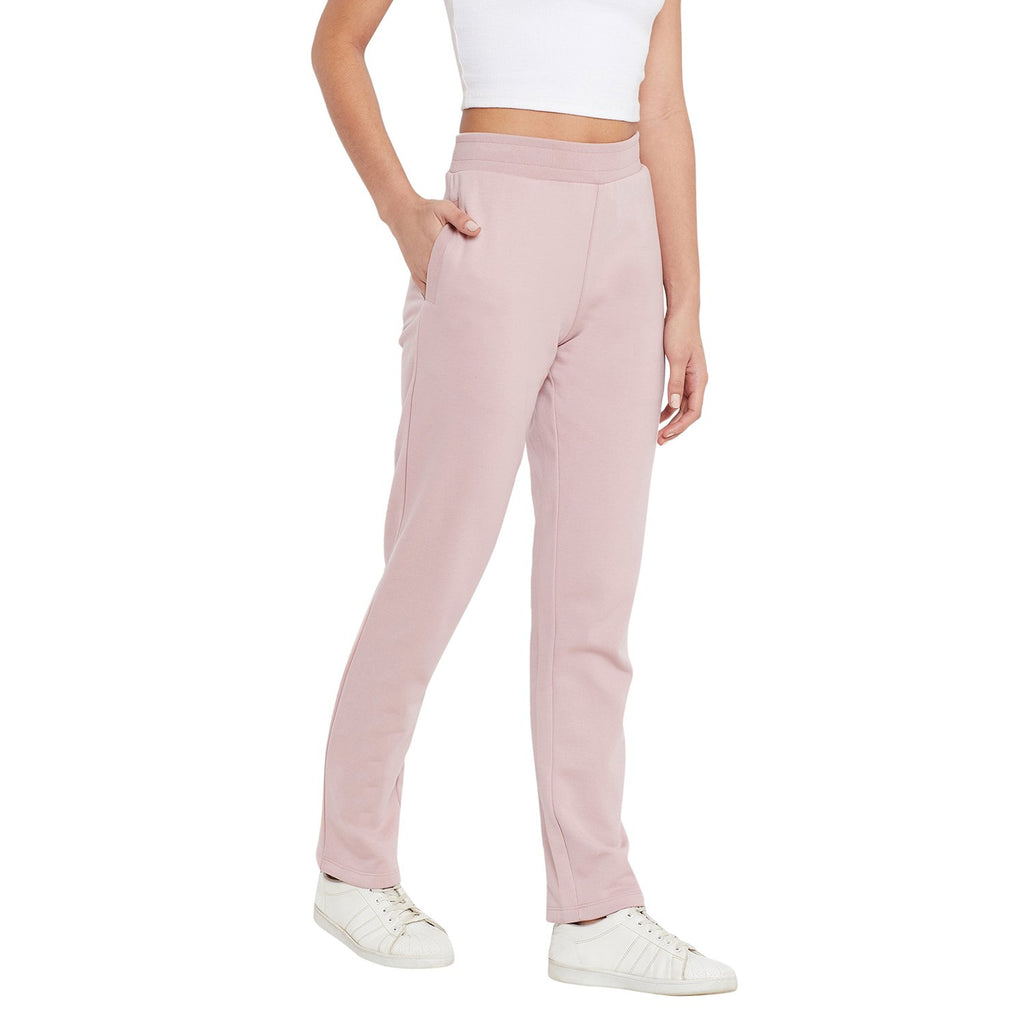 Madame Dusty Pink Color Track Bottoms For Women