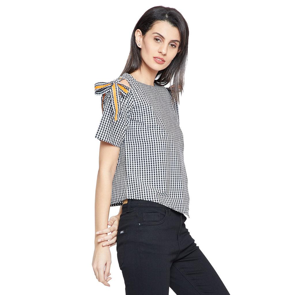 Madame Black Casual Checked Top