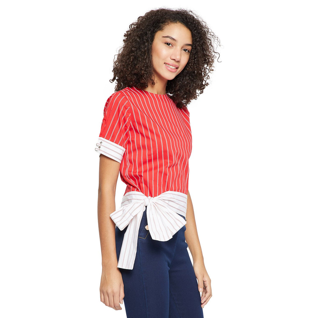 Red Striped Casual Top