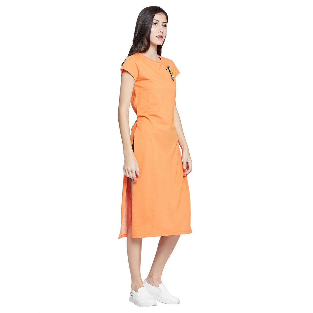 Orange Casual Solid Shift Dress