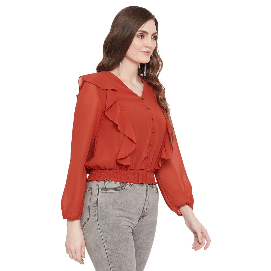 Madame Rust Color Text Top F/S For Women