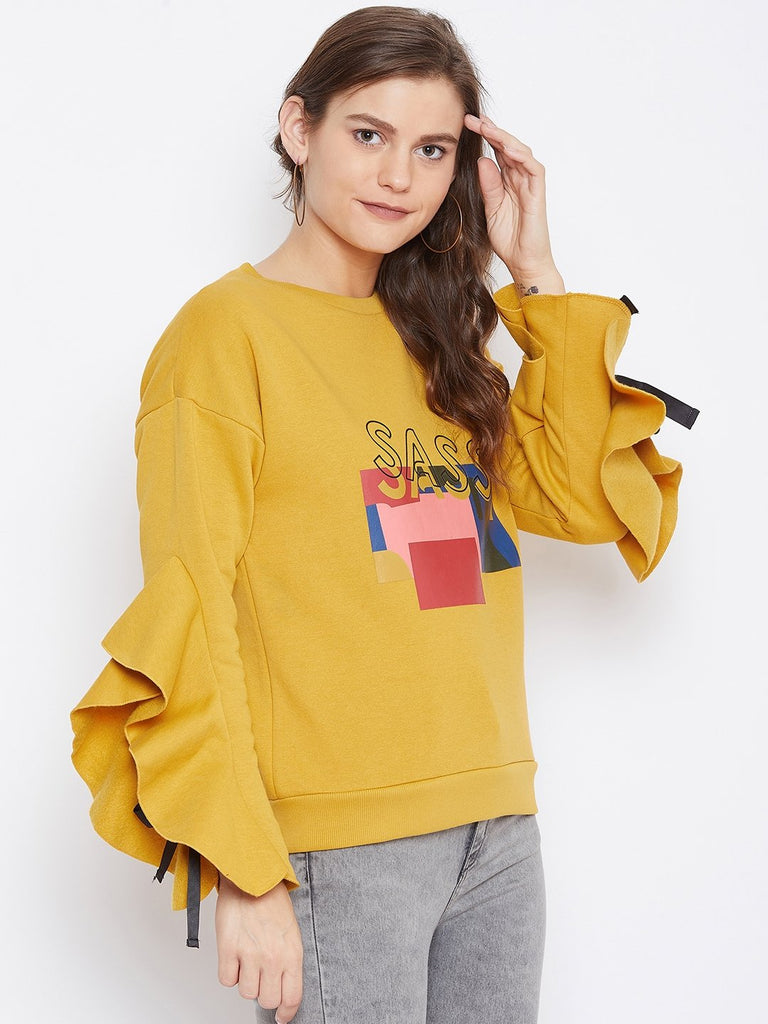 Camla Women Mustard Sweat-Shirt