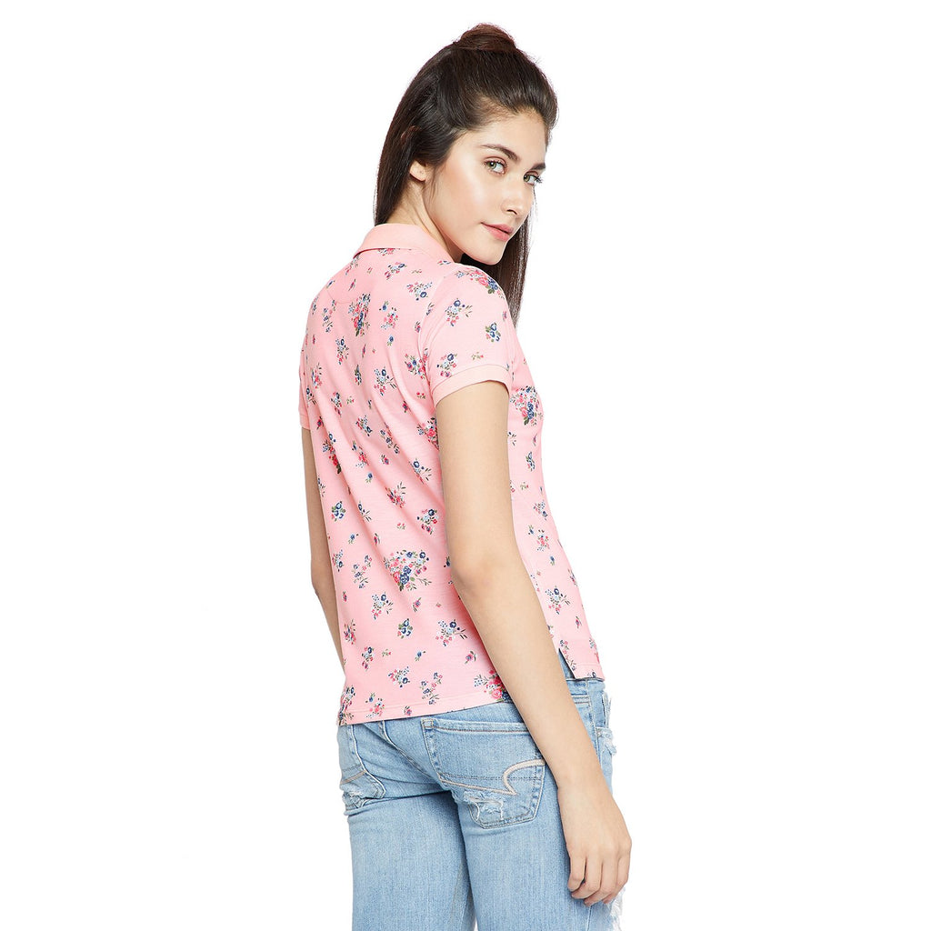 Peach Printed T Shirt