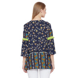 Madame Navy Printed Textile Top