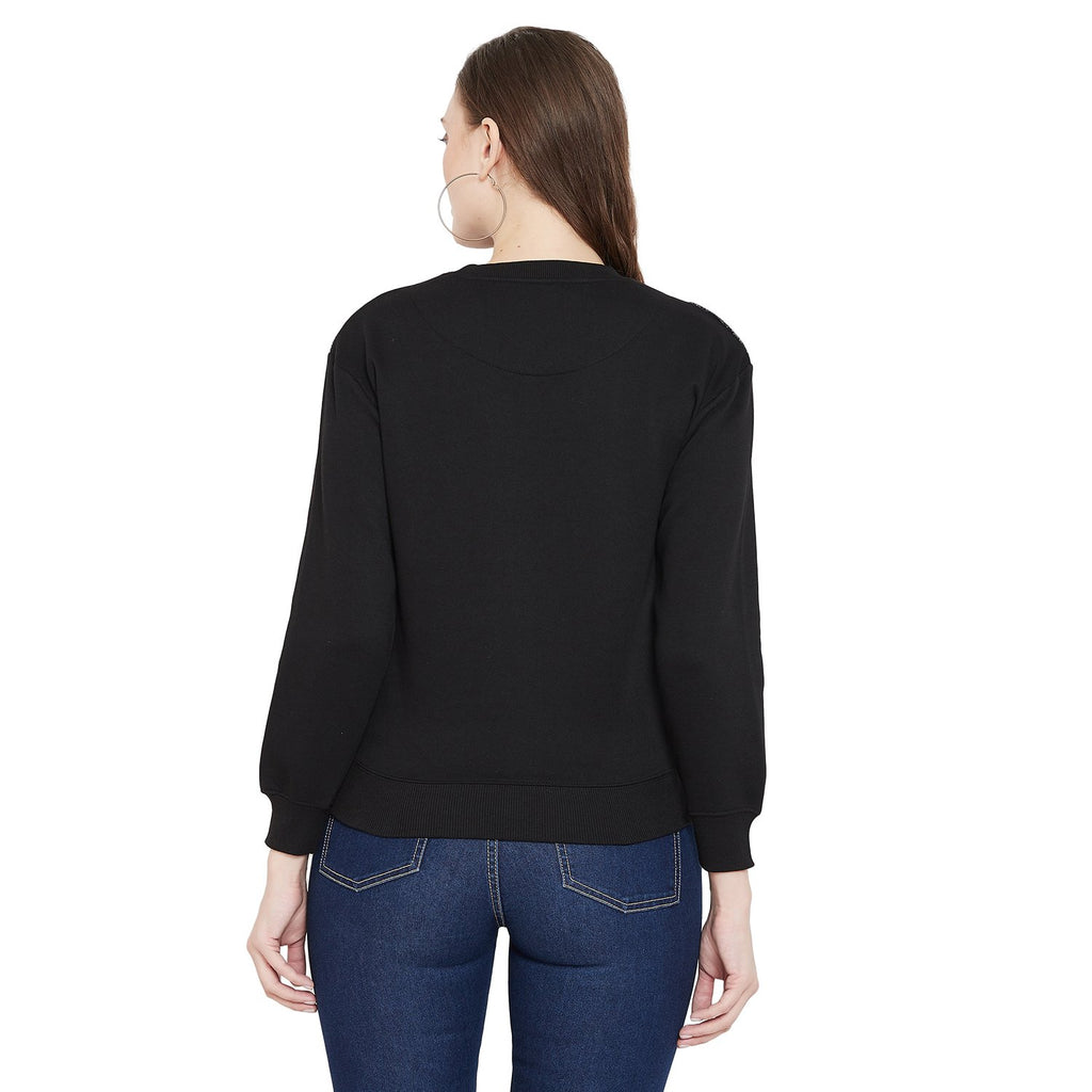 Madame Black Color Sweatshirt For Women