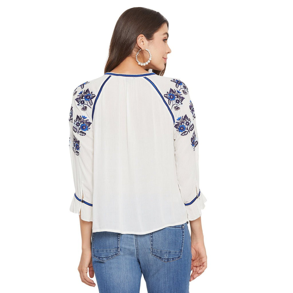MADAME WHITE Color Top For Womens