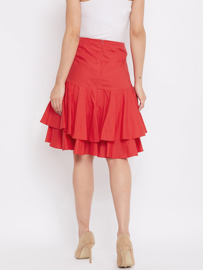 Camla Red Color Skirt For Women