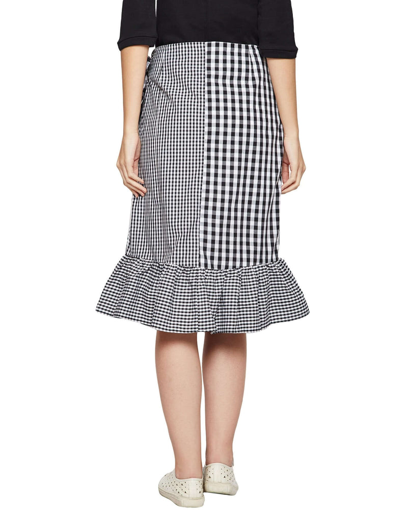 Black Checked Ruffled Skirt