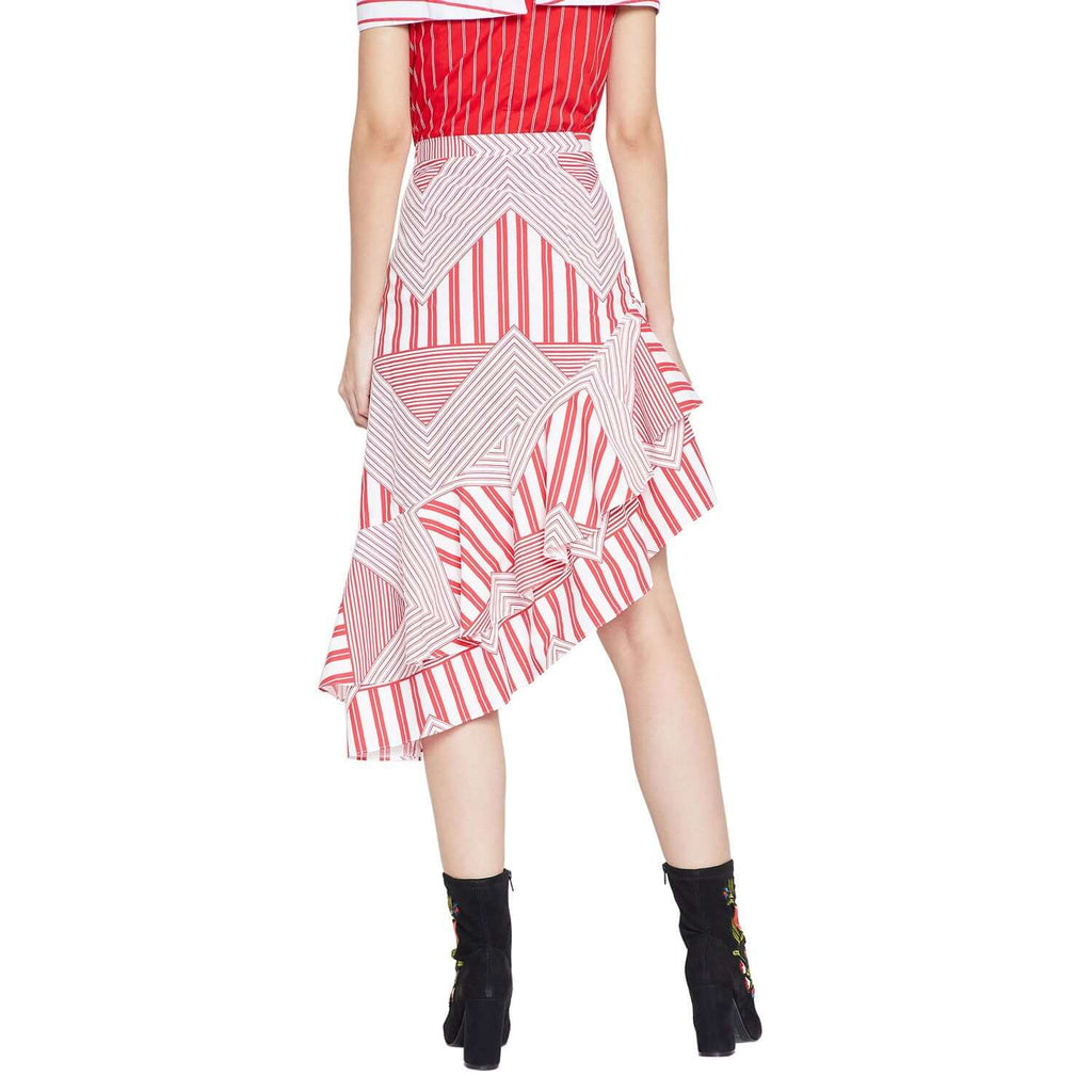 Asymmetrical Hemline Red Skirt