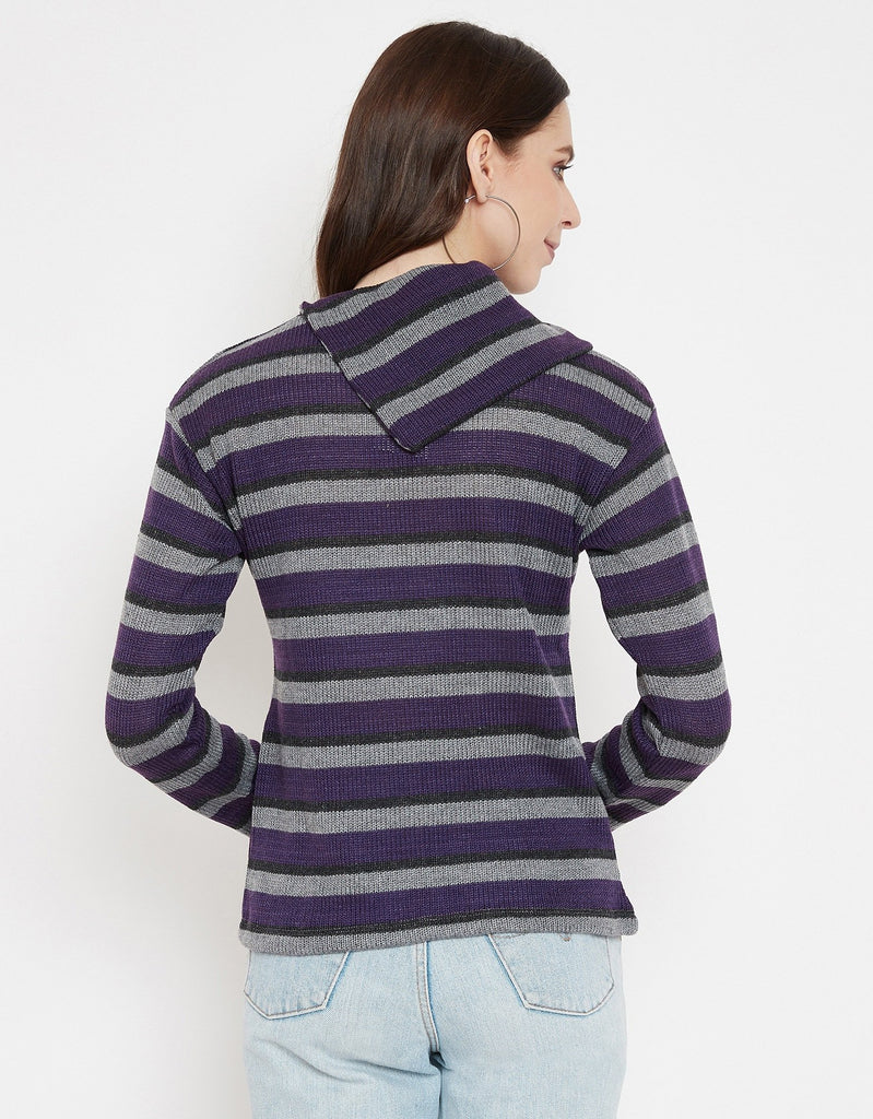 Madame Purple Full Sleeve Top For Women