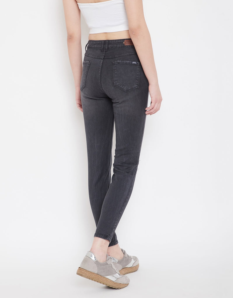 Grey Color Denim Jeans For Women