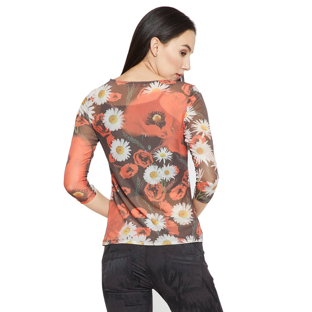 Madame Women Black & Red Floral Print Top